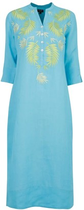 Nologo Chic Palm Springs Embroidered Linen Maxi Turquoise