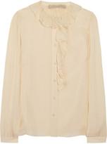 Ruffled silk-gauze blouse