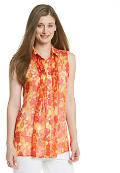 Fever FeverTM Floral Printed Sleeveless Button Down Woven Top