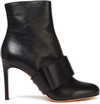 Valentino Bow-embellished Textured-leather Ankle Boots