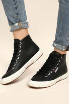 Superga 2795 FGLU Black Leather High-Top Sneakers