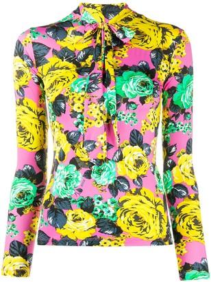 MSGM Floral-Print Slim-Fit Sweatshirt