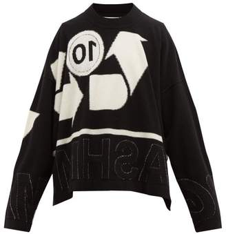 Maison Margiela Reverse Intarsia Cashmere Blend Sweater - Mens - Black White