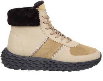 Giuseppe Zanotti Urchin Sneakers In Leather With Shearling Edge