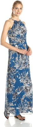 SL Fashions Women's Floral Printed Rouched Waist Maxi