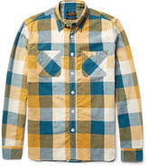 Beams Slim-Fit Checked Linen and Cotton-Blend Shirt