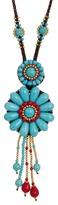 Natasha Accessories Beaded Flower Pendant Necklace