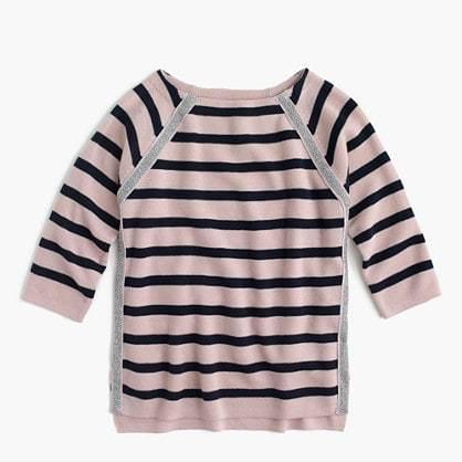 J.Crew Girls' sparkle and stripe sweater