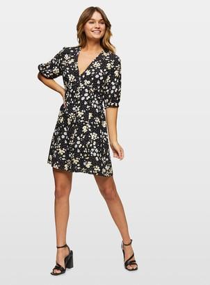 Miss Selfridge Black Daisy 3/4 Sleeve Mini Tea Dress