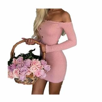 HOOUDO Women Dress Fashion Sexy Long Sleeve Solid Button Slash Neck Casual Slim Dresses(M