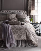 Horchow Fino Lino Linen & Lace King Charleston Damask Duvet Cover