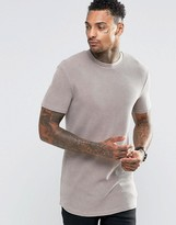 Asos Longline Muscle T-Shirt In Waffle With Bleach Wash In Brown