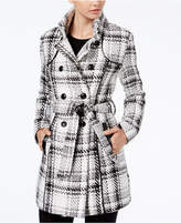 BCX Juniors' Plaid Belted Peacoat