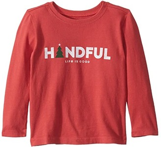 Life is Good Handful Crusher Knit Tee (Toddler) (Americana Red) Kid's T Shirt