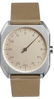 Slow Mo 09 - Beige Leather Silver Case Creme Dial Unisex Quartz Watch with Beige Dial Analogue Display and Beige Leather Strap