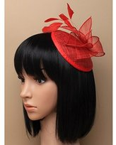 Inca Red Fascinator on Headband/ Clip-in for Weddings, Races and Occasions-5870