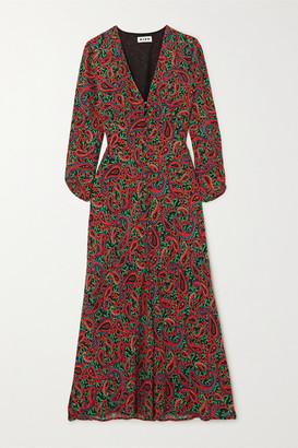 Rixo Katie Paisley-print Crepe Midi Dress - Burgundy