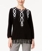 Alfred Dunner Petite City Life Fringe-Hem Sweater