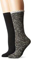 Steve Madden Women's 9-11 Speckle Ruffle Cuff Boot Sock 2 Pack
