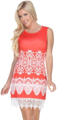 White Mark Women's Crochet-Trim Printed Mini Dress