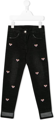 MonnaLisa Pink Panther embroidered jeans
