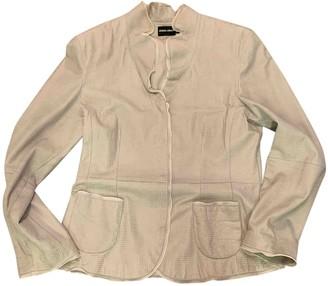 Giorgio Armani Grey Leather Jacket for Women Vintage