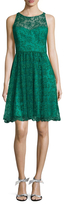Badgley Mischka Lace Embroidered Fit And Flare Dress