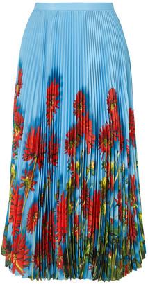 Dries Van Noten Sax Pleated Floral-print Crepe De Chine Midi Skirt