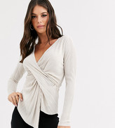 Asos Tall DESIGN Tall long sleeve plisse top with drape twist front in dark ivory