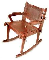 Handcrafted Colonial Leather Wood Rocking Chair, 'Colonial Country'