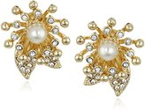 """Anne Klein Into The Garden"""" Gold-Tone Pearl and Crystal Flower Button Clip Earrings"""