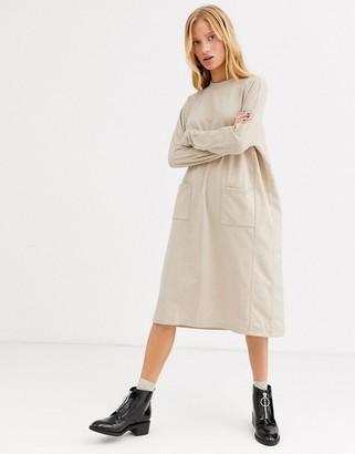 Monki oversized jumper midi dress in beige