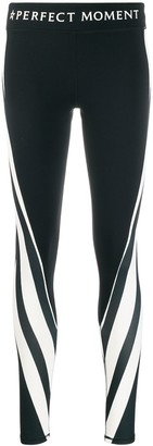 Perfect Moment Mesh-Panelled Striped Leggings