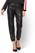 New York & Co. Faux-Leather & Ponte Jogger - Black