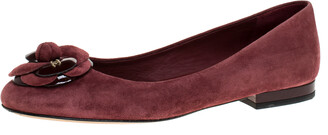 Chanel Burgundy Suede And Patent Leather Camellia Ballet Flats Size 36