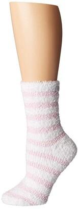 Karen Neuburger Chenille Stripe Sock (Pink/White Stripe) Women's Crew Cut Socks Shoes
