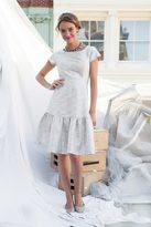 Shabby Apple Greenwich Fitted Flare Dress Silver