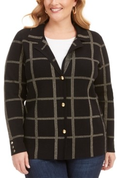 Belldini Plus Size Printed Point-Collar Cardigan