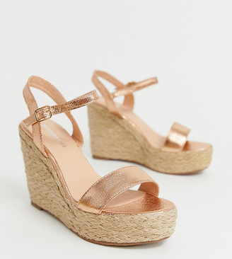 Glamorous Wide Fit rose gold metallic espadrille wedges