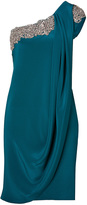 Marchesa Crystal Embroidered Silk Crepe One Shoulder Dress in Teal