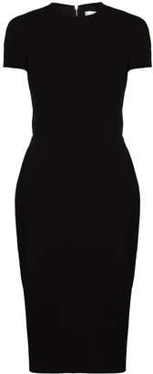 Victoria Beckham Short-Sleeve Fitted Midi Dress