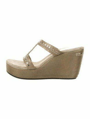 Calleen Cordero Leather Studded Accents T-Strap Sandals Gold