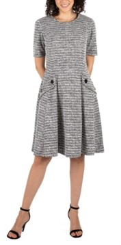 Robbie Bee Petite Heather-Knit Fit & Flare Sweater Dress