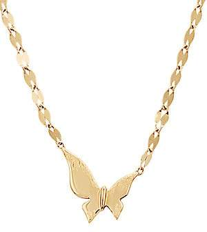 Lana Girl Women's 14K Yellow Gold Tiny Butterfly Pendant Necklace