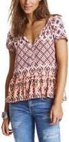 Odd Molly Light Candy Floral Lattice Peasant Top