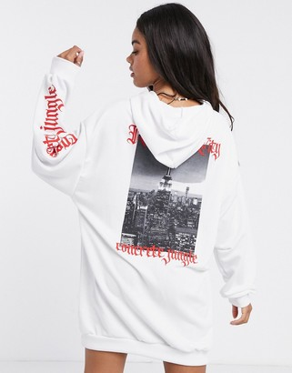 ASOS DESIGN mini hoodie sweatshirt dress in white with red New York typography