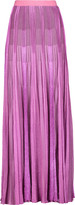 Missoni Metallic pleated crochet-knit maxi skirt