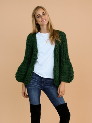 Goodnight Macaroon 'Lillibeth' Green Chunky Knit Open Cardigan