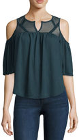 Self Esteem 3/4 Sleeve Split Crew Neck Knit Blouse-Juniors