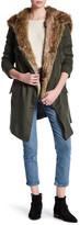 BB Dakota Faux Fur Trim Drape Coat